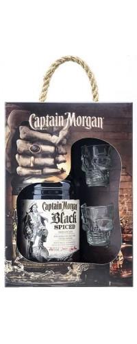 Ром Captain Morgan Black Spiced (Капитан Морган Блэк Спайсед) 0,7л с 2 рюмками