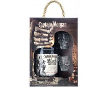 Ром Captain Morgan Black Spiced 0,7л + 2 рюмки