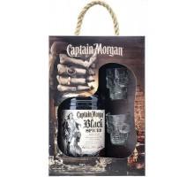 Ром Captain Morgan Black Spiced 0,7л + 2 рюмки