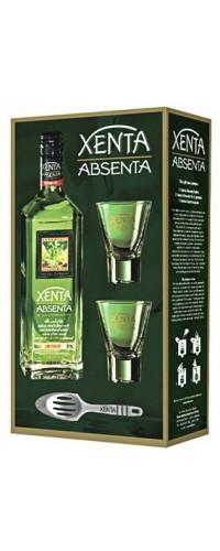 Абсент Xenta в подарочной уп. 2 стакана + ложка (Ксента) 0,7л
