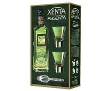Абсент Xenta 70% в подарочной уп. 2 стакана + ложка 0,7л