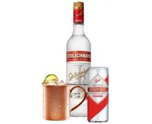 Набо Водка Stolichnaya 1,0л 40% 2шт. + Ginger Beer Stoli 0,25 л х 24 шт + кружка