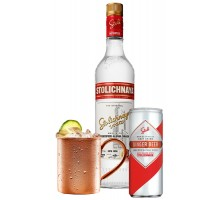 Набо Водка Stolichnaya 1,0л 40% 2шт. + Ginger Beer Stoli 0,25 л х 24 шт + кружка