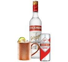 Набор Водка Stolichnaya 1л 40% 2шт. + Ginger Beer Stoli 0,25 л х 24 шт + кружка (4750021500114)