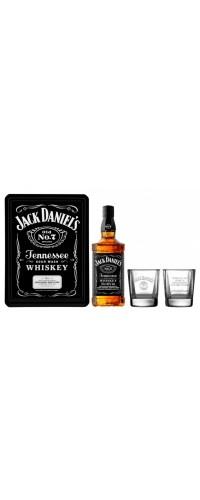 Виски Jack Daniel's (Джек Дэниэлс) 0,7л c 2-мя бокалами в металлической коробке