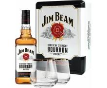 Виски Jim Beam мет. коробка + 2 бокала 0.7л