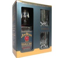 Виски Jim Beam Double Oak 43% + 2 бокала 0.7л (5060045586919)